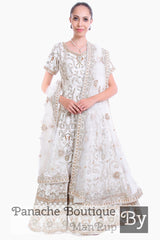 White Color Heavily Embroidered Anarkali