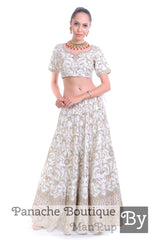 White Color Heavily Embroidered Zardozi Lehenga
