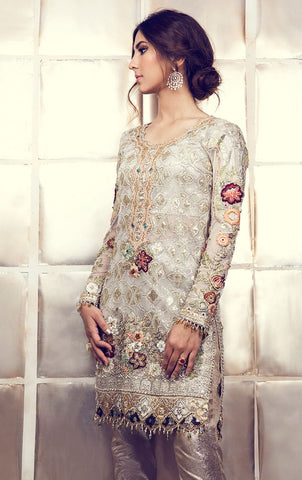 White Gorgette Pakistani Suit