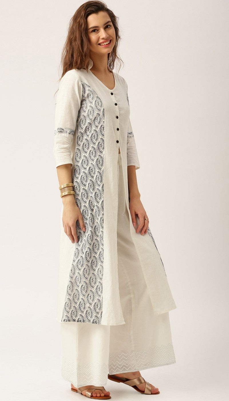 Off-White Color Jaipuri Kurta in Slub Cotton