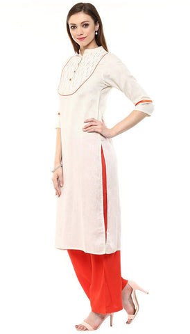 Off-White Color Jaipur Kurta in South Cotton