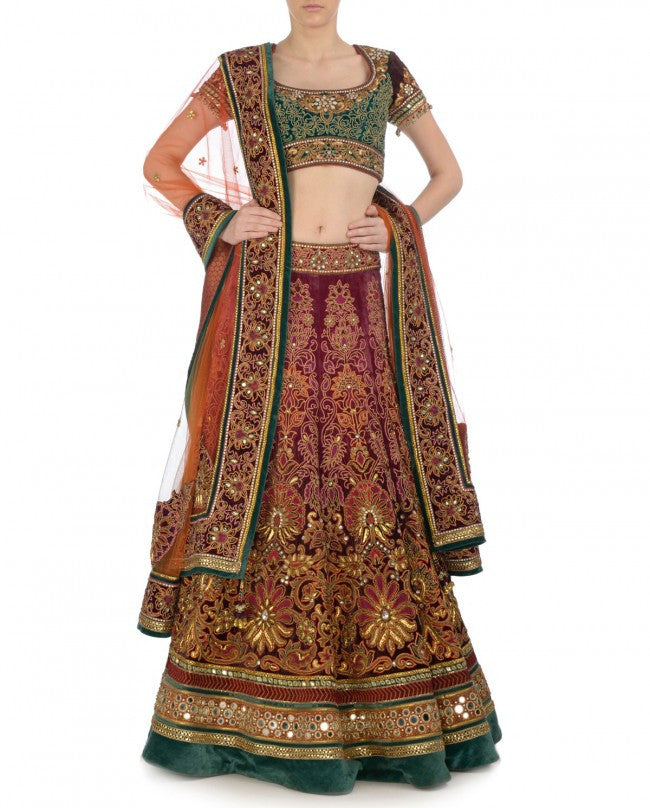 Maroon shaded bridal lehenga choli