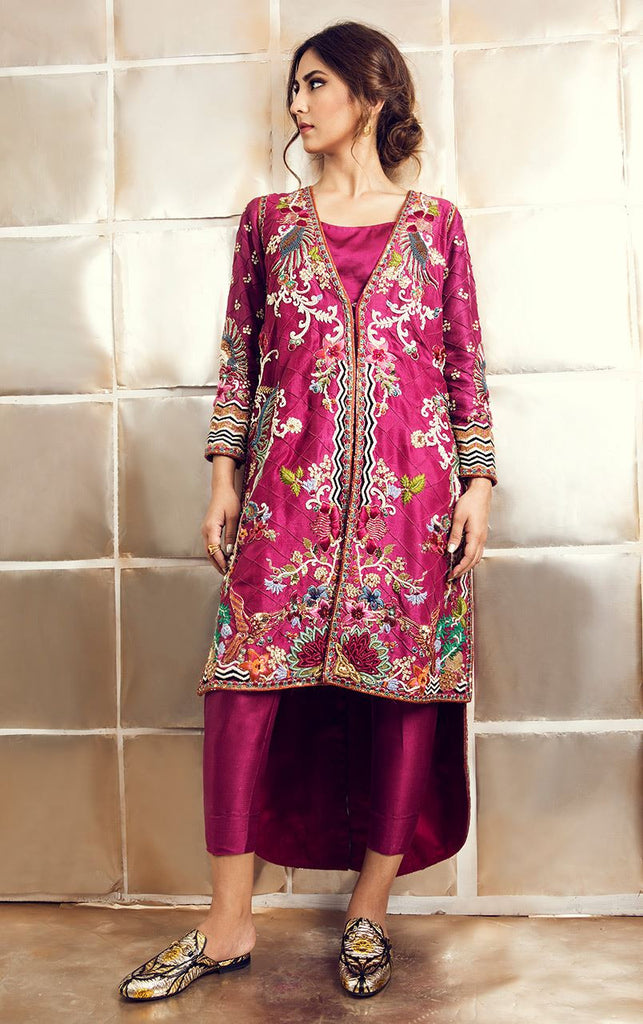 Wine Color Jacket Suit with Pakistani Pant