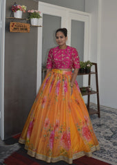 Extraordinary Partywear Yellow Color Organza Lehenga Choli