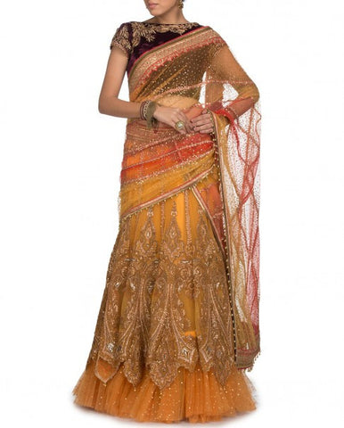 Yellow Bridal lehenga Saree Replica from Tarun Tahiliani Collection