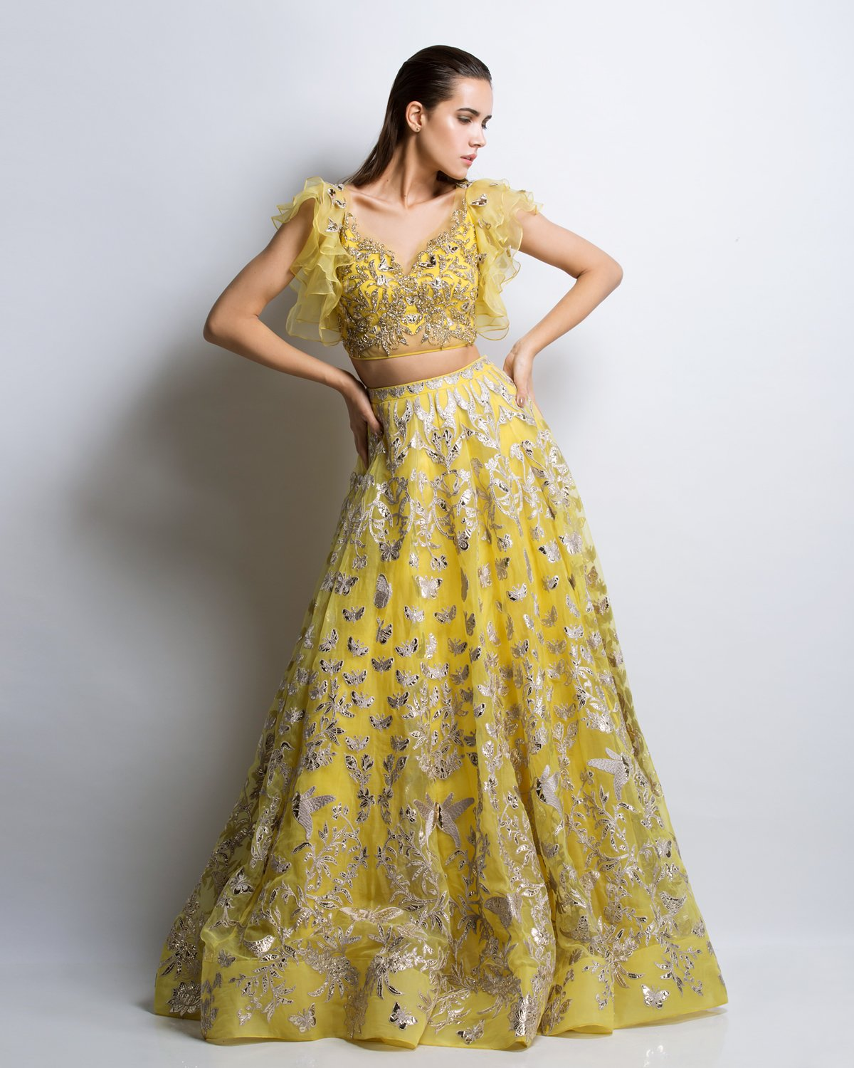 Yellow Color Gotta Patti Applique Lehenga