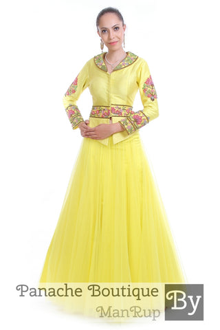 Citrus Yellow Jacket Lehenga