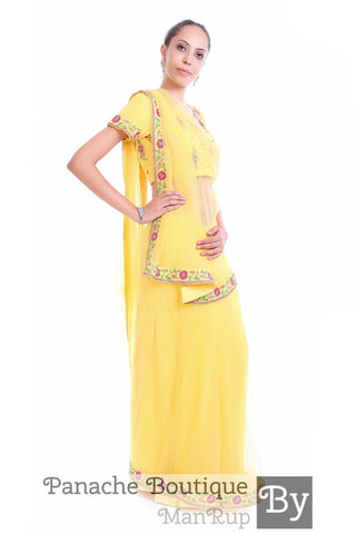 Yellow Colour Net Saree with Hand Embroidery