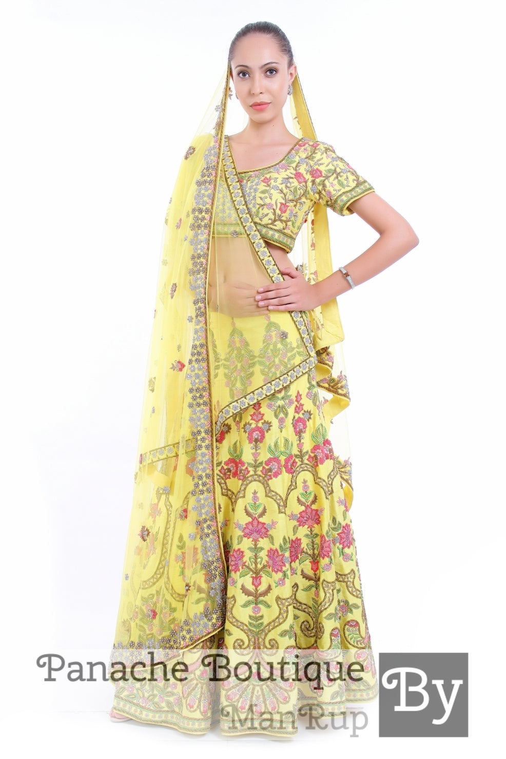 Citrus Yellow Heavily Embroidered Thread Embroidered Lehenga