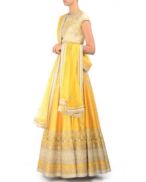 Yellow Gotta Patti Lehenga Set