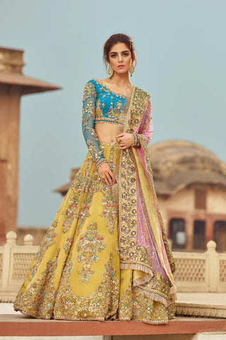 Pale Yellow and Firozi Wedding Lehenga