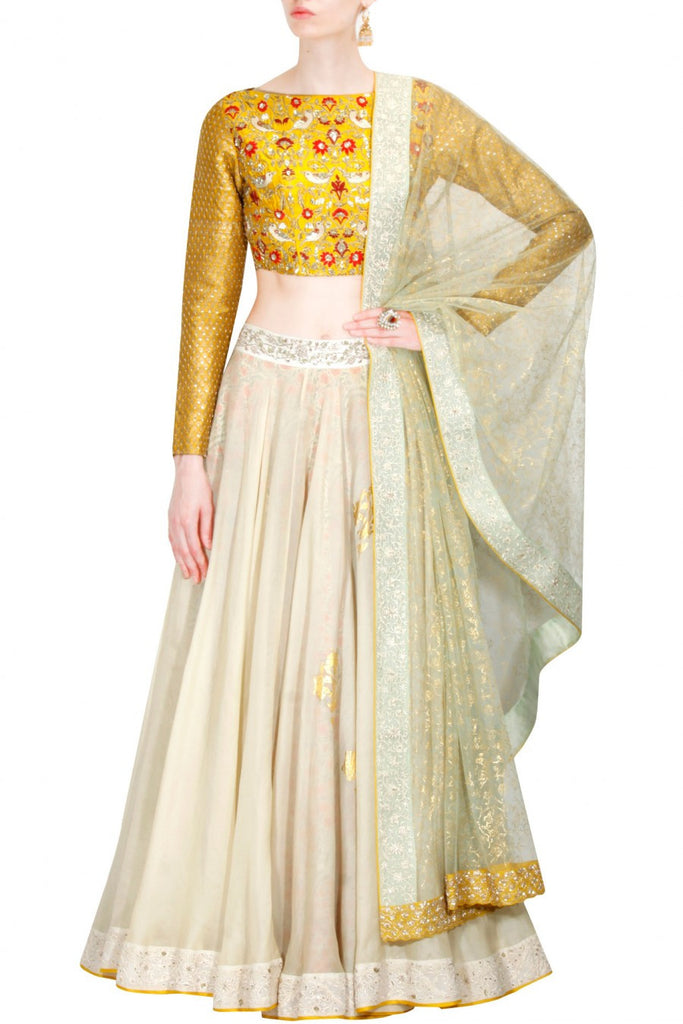 Yellow and Beige Lehenga Choli