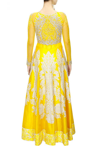 Yellow colour floor length anarkali
