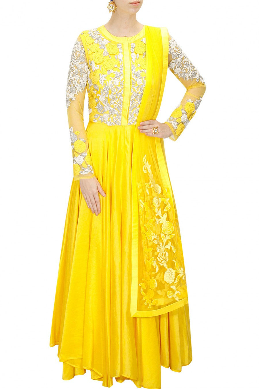 Yellow colour floor length