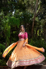 Yellowish Peach and Pink Lehenga Set from Gamila Collection