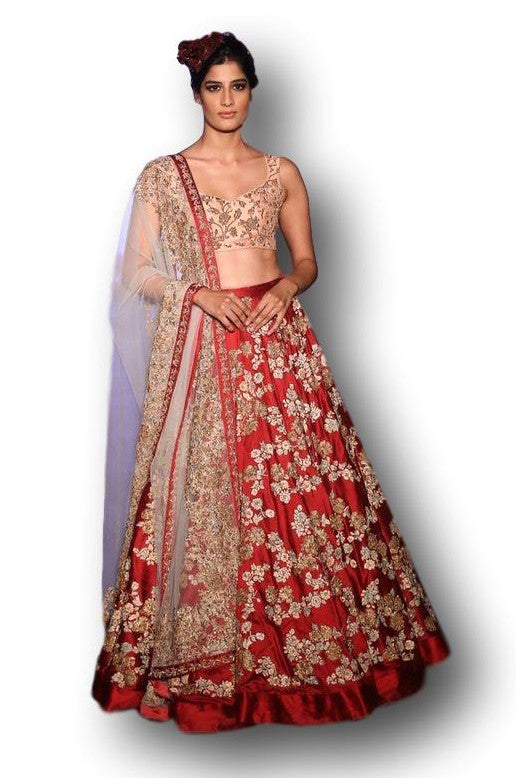 Maroon Red and Peach Color Wedding Lehenga Choli