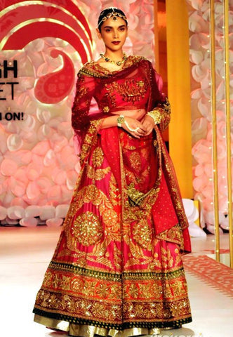 Fuschia Pink Wedding Lehenga in Zardozi Embroidery