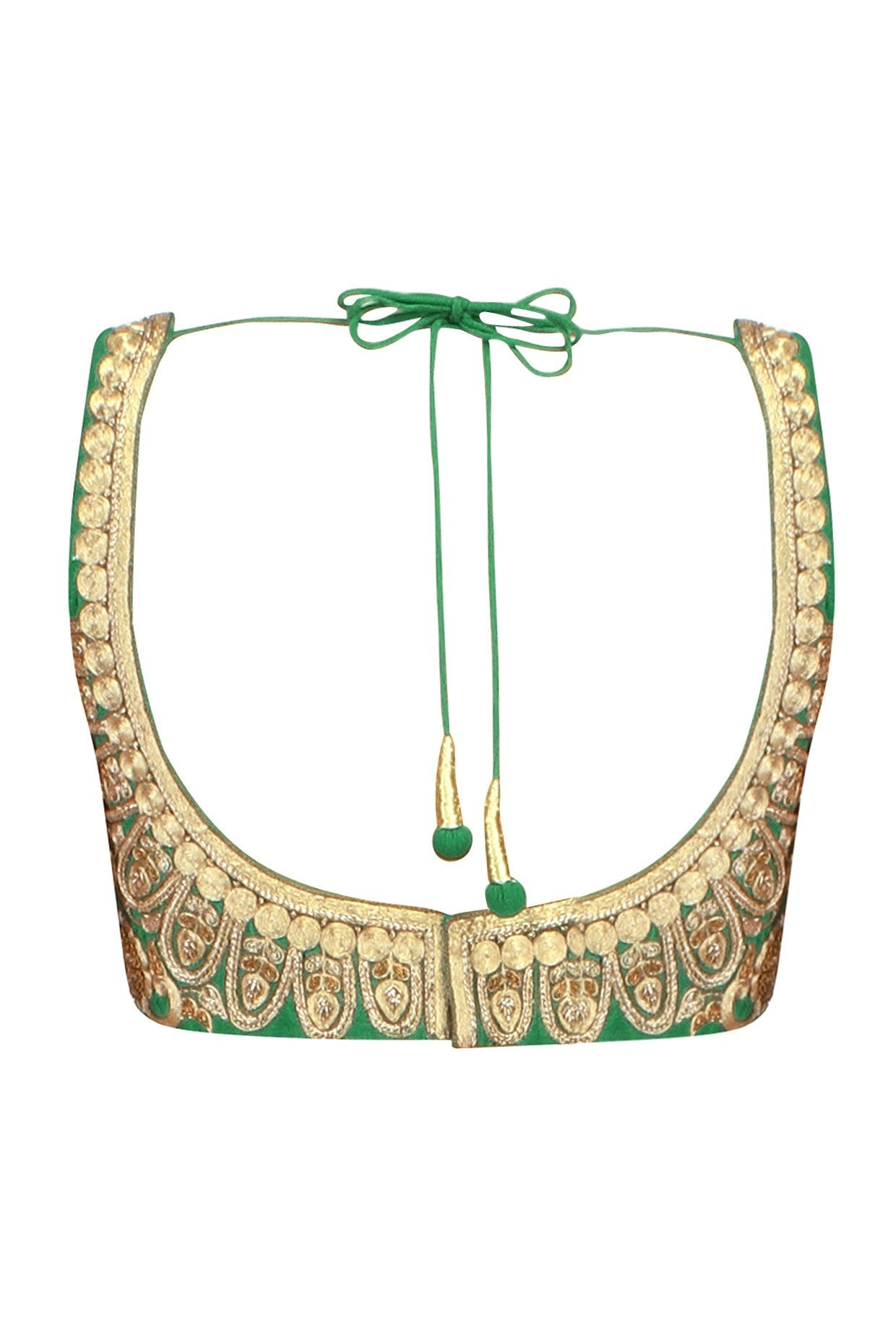 Green color embroidered blouse in raw silk