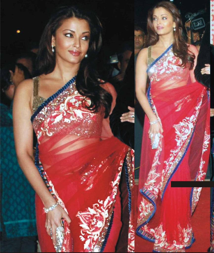 Aishwarya Rai in Red color party wear saree