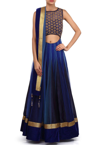 Blue shaded lehenga choli