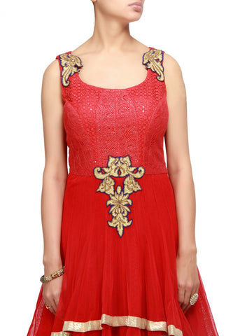Red color anarkali suit online