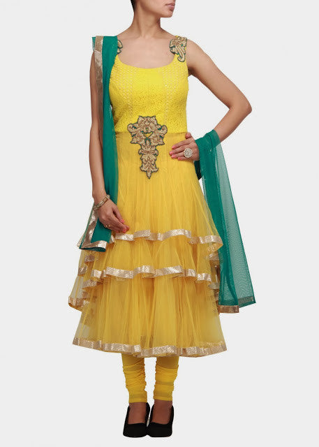 yellow color anarkali salwar kameez