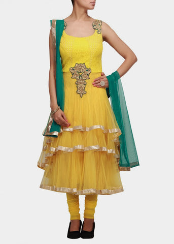 Yellow color anarkali suit online