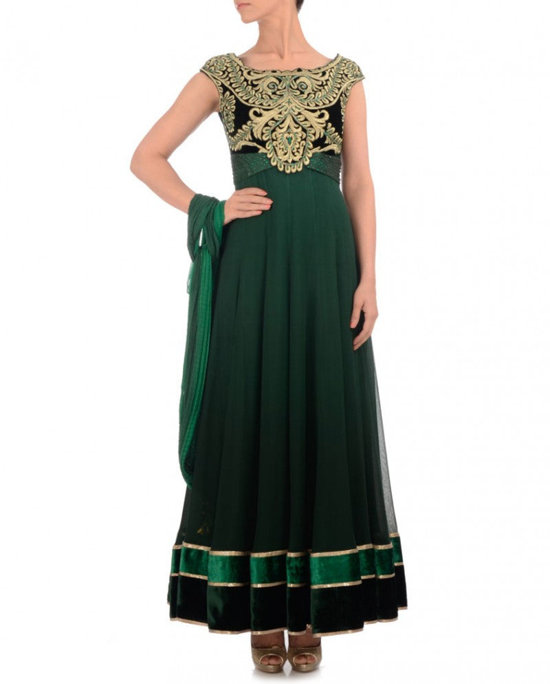 Green color anarkali suit