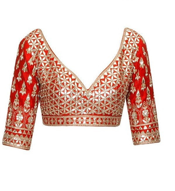 Red color gotta patti embroidered blouse in silk