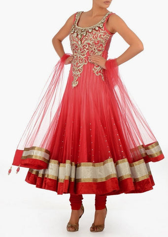 Coral color bridal wear long anarkali salwar kameez