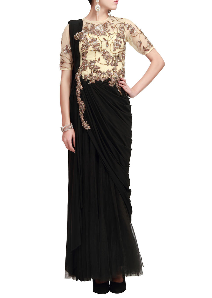 Black color saree gown