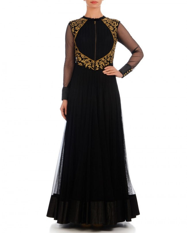 Black color anarkali gown