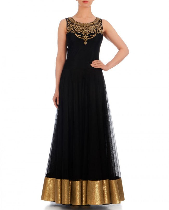 Black color anarkali Indo-Western gown