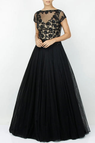 Black color embroidered gown