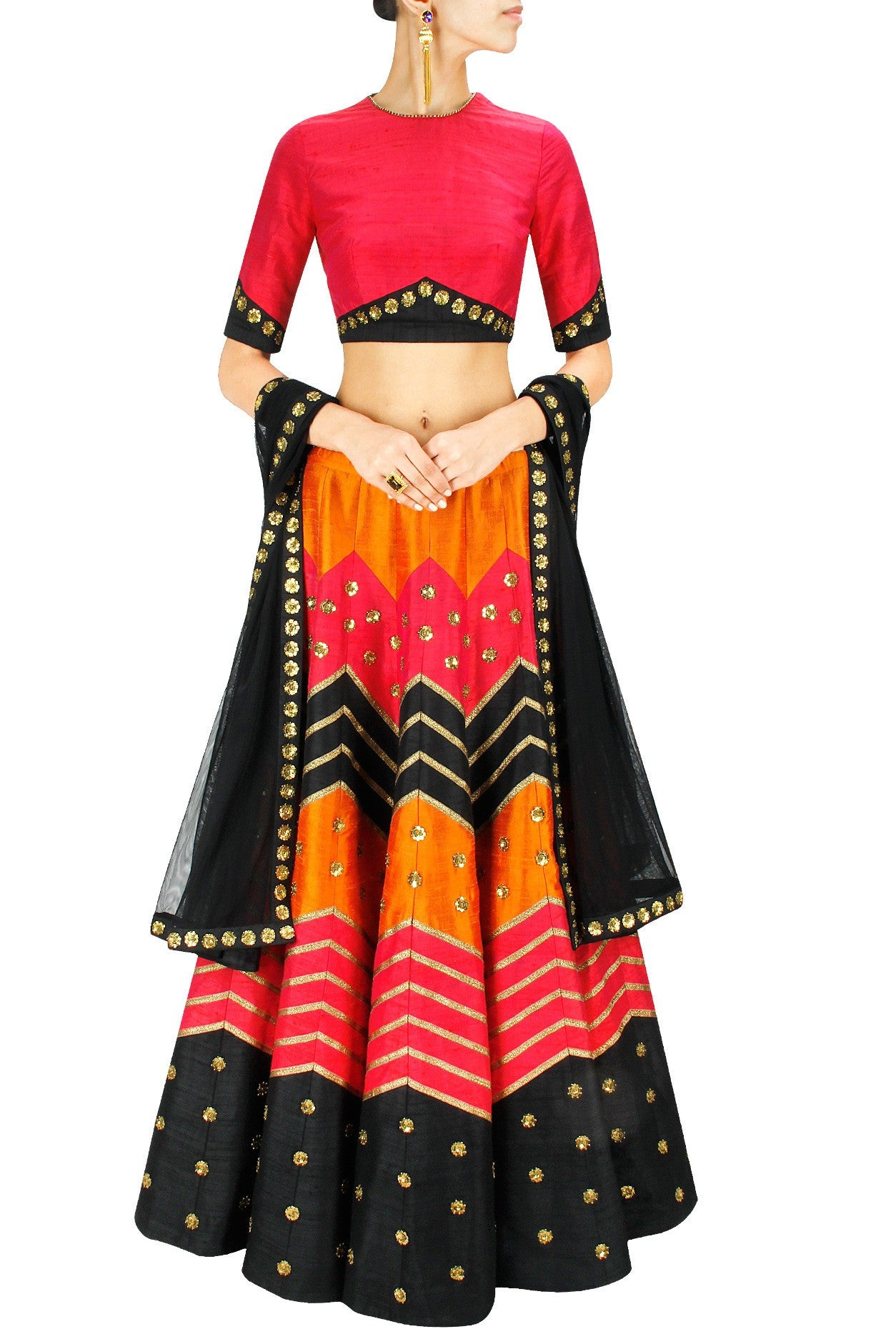 Dark Pink, Black and Orange Zig Zag Lehenga Set