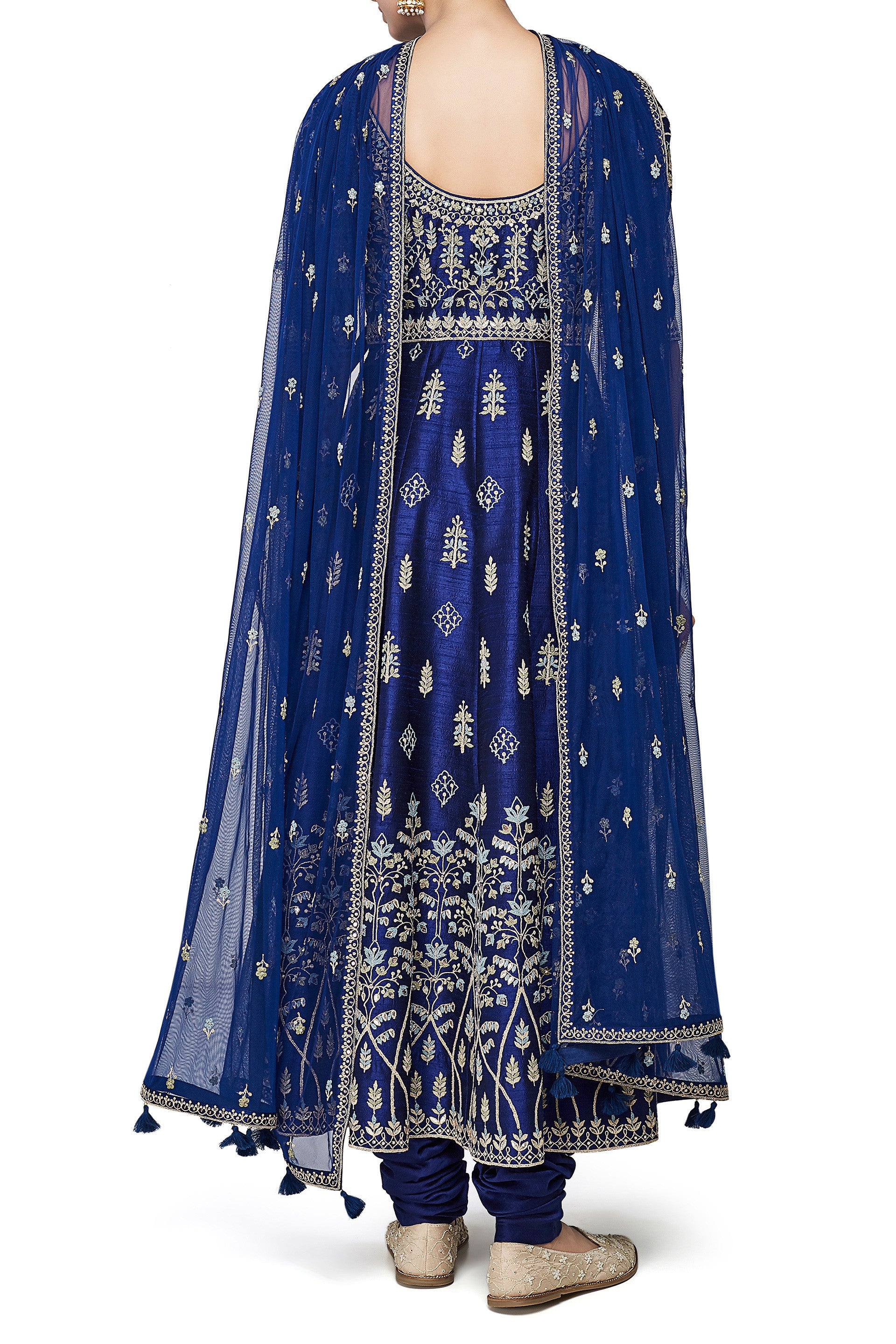 Navy Blue Color Anarkali in Dupion Silk