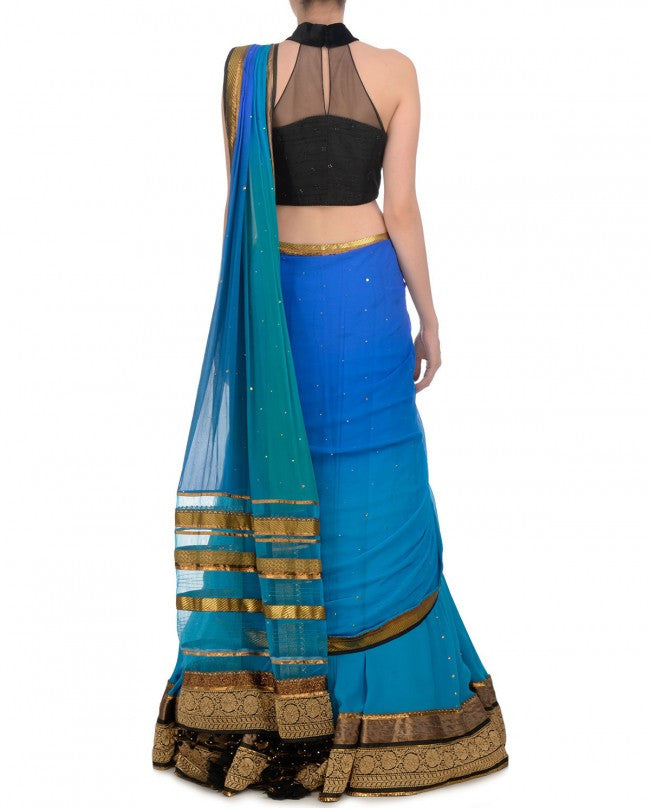 Blue and Black party wear chaniya choli