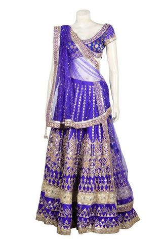 blue color bridal lehenga choli