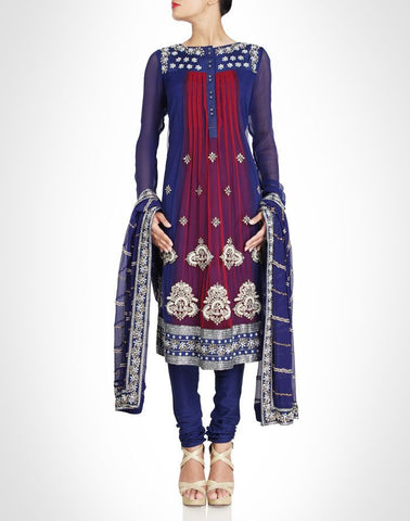 Blue color designer churidar suit available online