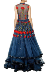 Blue flared embroidered gown
