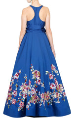Blue floral embroidered gown