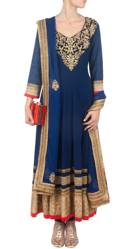 Blue color long anarkali suit online