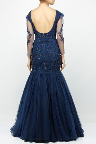 Blue color mermaid embroidered gown