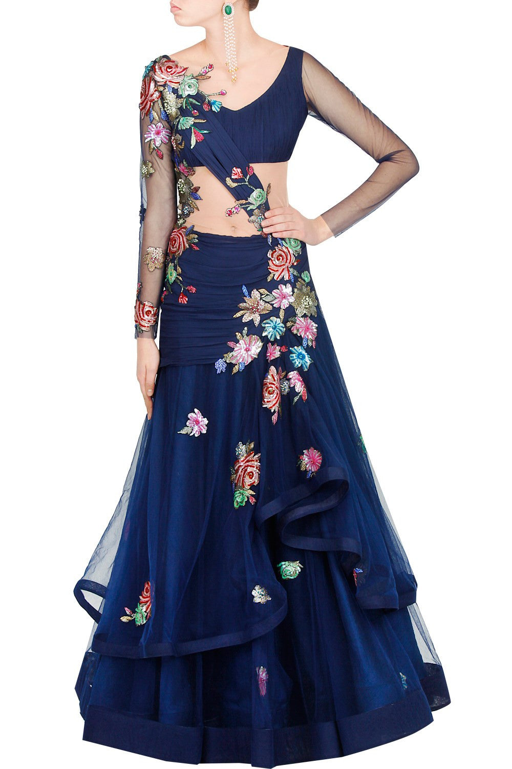 Blue color flared embroidered gown