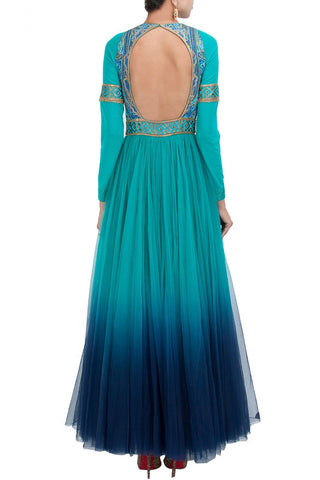 Blue color anarkali suit