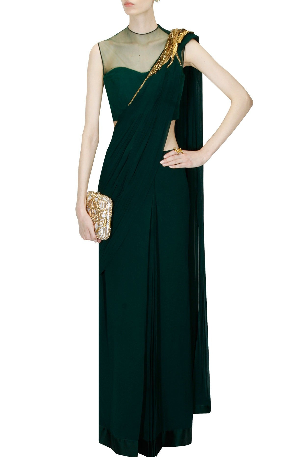 Bottle Green Saree Gown