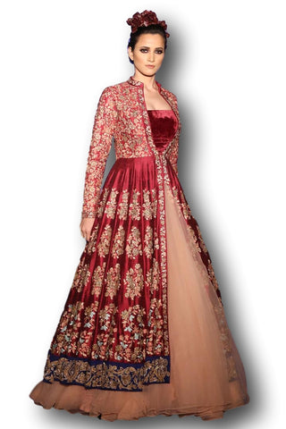 Maroon colour Jacket Lehenga