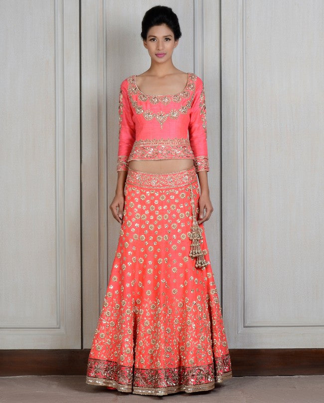 Coral color lehenga choli