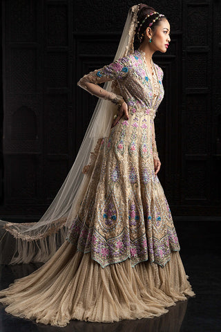 Beige Colour Wedding Jacket Lehenga