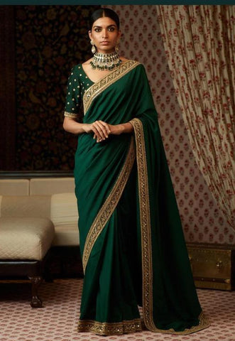 Emerald Green Color Silk Saree